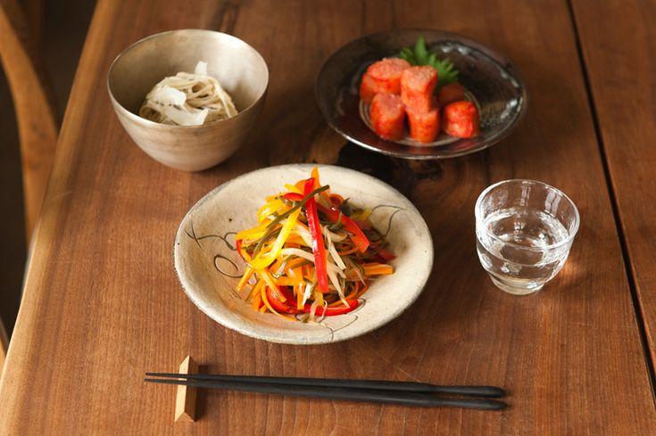 日本酒と辛子明太子&千切り野菜の酢醤油漬け&そばチーズ