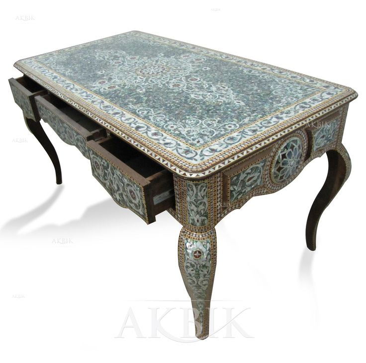 Mother of pearl Moroccan, Syrian and Levantine Furniture - Moroccan, Syrian mosaic desk.