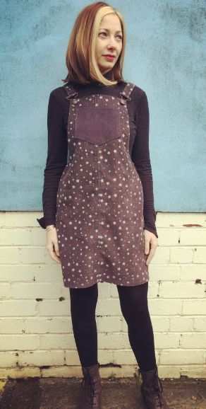 Sarah's Cleo dungaree dress - sewing pattern by Tilly and the Buttons