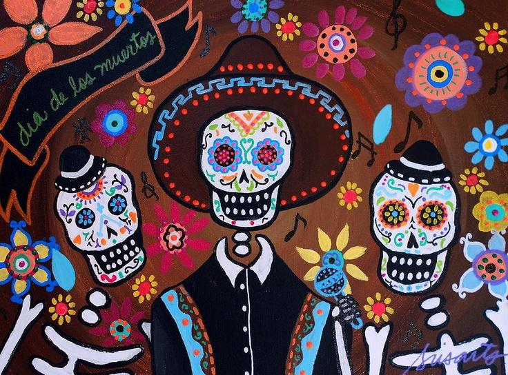 Sugar skulls. Tres Amigos Mariachi Painting  - Tres Amigos Mariachi Fine Art Print
