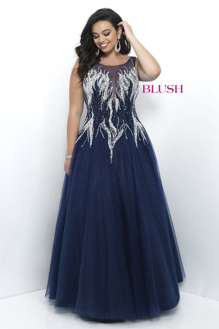 The formal dress - Blush Too Plus 9306w Navy High Neckline Ball Gown Prom Dress