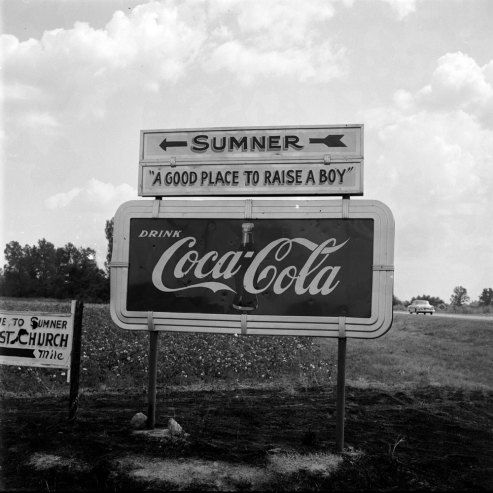 sign in Sumner, Miss., site of the trial of Roy Bryant and J.W. Milam for the August 1955 kidnapping and murder of Emmett Till.