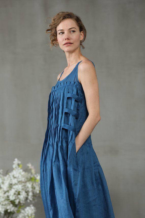 6233de3c2660 linen dress in blue maxi dress pintuck dress linen maxi