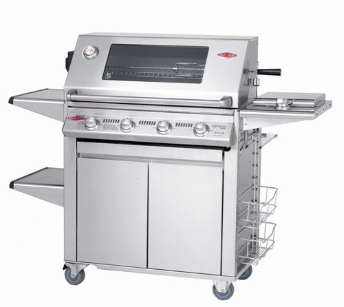 Beefeater Signature Premium 4 Burner Exclusive  Signature Plus series full stainless steel trolley Entire BBQ is made using the highest quality 304 grade commercial stainless steel - drip tray, burners, bottom shelf, twin skin hood, plates, grills, side shelves, side burners, cabinet , twin skin doors - all 304 grade stainless steel.