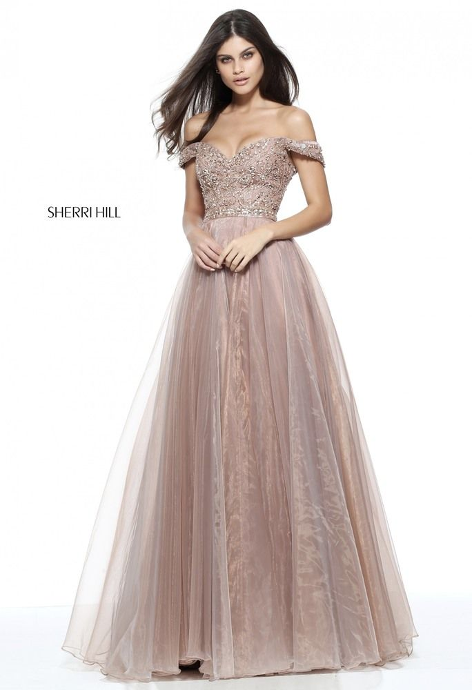 f10131f5ac600 Prom dresses The intricately beaded bodice of this Sherri Hill 50832  full-length prom dress features an off-the-shoulder V-neckline and back, ...