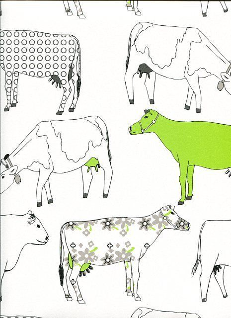 Good Contemporary Retro Farm Kitchen Wallpaper Shabby Chic COW Red Green Blue  Vintage