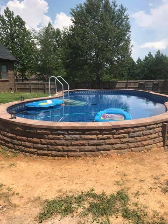Inground Pool With Fire Pit : inground, Stealth, Semi-In, Ground, Pools, Depot, #backyard, Ideas, Landscapes, #Dep…, Pool,, Inground, Landscaping,, Small, Backyard