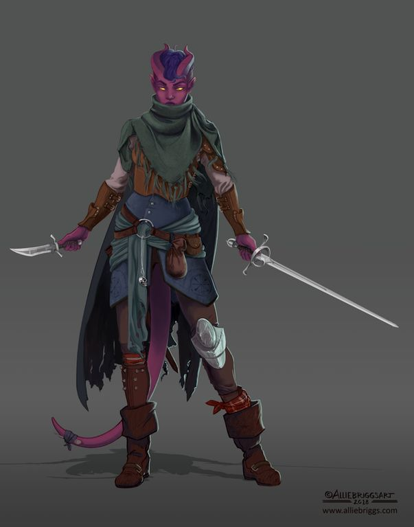 """""""Mau Nowhere,"""" by Allie Briggs. Character art for DnD Tiefling Rogue. : characterdrawing"""