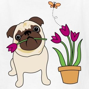 White Tulip Pug Kids Shirts - Kids' T-Shirt