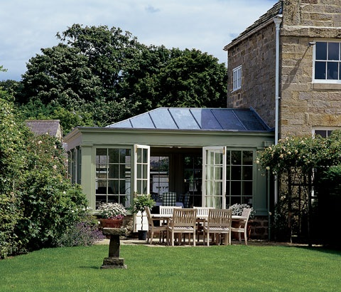 Most of our clients prefer a fully glazed conservatory or orangery. However for some the balance of a solid insulated roof and glazed sides will better meet their requirements. The feeling of light and space is still achieved in these conservatories. Even the combination of part glazed and part leaded roof can create the desired effect.