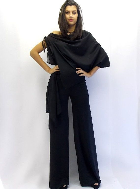 Black Jumpsuit / Dress Jumpsuit / Asymmetrical Jumpsuit / by Teyxo, $79.00