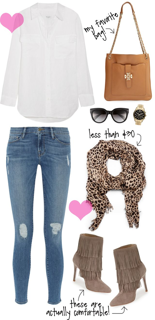 white top + skinny jeans + suede booties + leopard scarf
