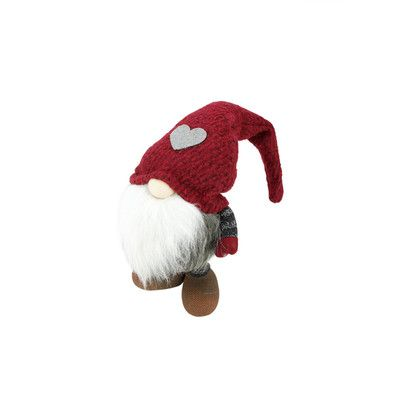 """Northlight Felix Chubby Santa Gnome Christmas Figure Size: 11.5"""" H x 9"""" W x 6.5"""" D, Color: Red and Grey"""