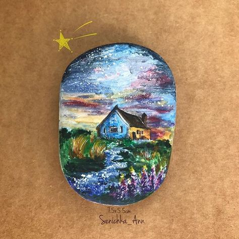 #аниныкамни #волшебныерисункинакамнях #senichka_ann #stoneart #painting #stonepainting #рисунокнакамне #росписьгальки #волшебство #magic Когда в твоем сердце живет любовь, ты чувствуешь, будто миллионы частичек тебя летают и сияют в небесах. Они светятся и дарят тебе надежду обрести счастье. И все звезды принадлежат Тебе..✨ Томи Гретцвельг