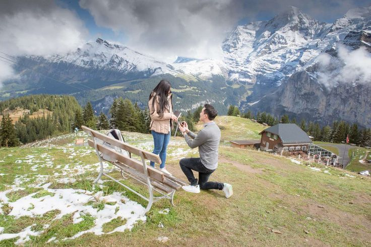 Surprise wedding proposal when Alex proposes marriage to Nathalie. Both are from Australia. #photographer #mürren