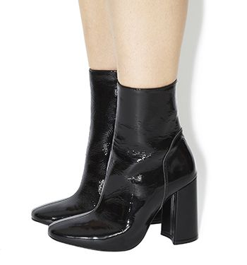 Office Incense High Cut Boots Black Patent Leather - Ankle Boots