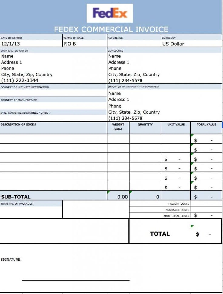 Commercial Invoice Template Word Ups Doc Shipping Letsgonepal