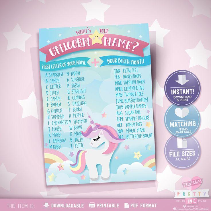 Unicorn name game, unicorn party game, whats my unicorn