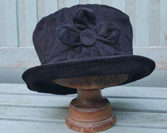 860496d5dcf Black fleece cloche hat black daisy cloche black flower hat