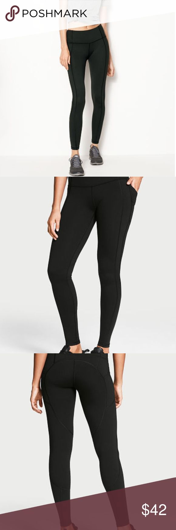 """The Knockout by Victoria Sport Pocket Tight The best gets better: the slimming, stay-put workout tight you love, now with side pockets for toting cards, keys and other on-the-go essentials. Medium rise with second-skin fit and lined, reinforced gusset Smooth seams engineered with softer threads for total comfort Waistband with mesh lining slims & stays in place throughout workout Hidden drawstring waist; large waistband pocket holds iPhone® 6 Side pockets on outer thighs 28"""" inseam Body-Wick…"""