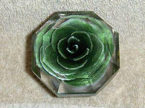 Vintage 1950u0027s Octagonal Lucite Door Knob DoorKnob W Green Rose Inside