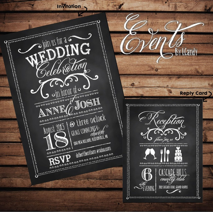 WEDDING INVITATION SAMPLE  vintage chalkboard by Eventsbyicandy, $1.50