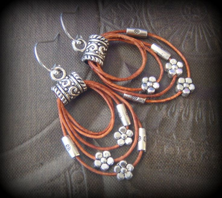 Rustic, CowGirl, South West, Lasso, Flowers, Leather, Hoop Beaded Earrings by YuccaBloom on Etsy
