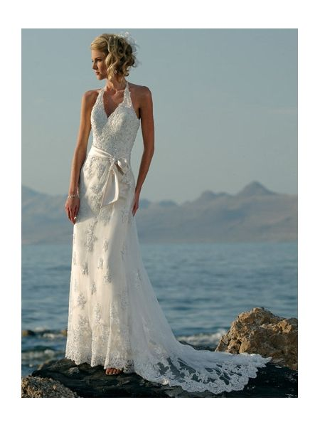 Sheath Beach Wedding Gowns Halter With Lace Applique
