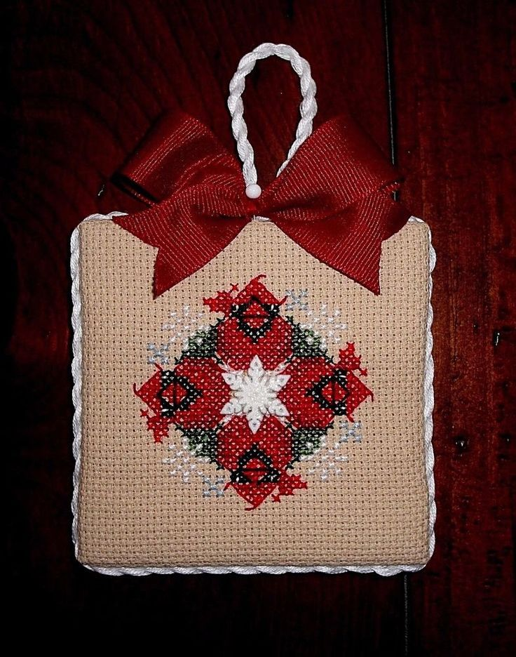 finished completed cross stitch Christmas ornament Just Nan SNOW CARDINALS | eBay