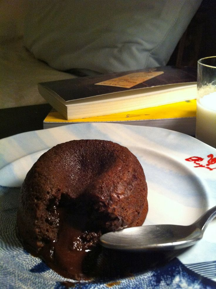 Single serving molten chocolate cake. This is delicious. And so fast / easy. A way to get my baking fix and my chocolate fix, even with an newborn.