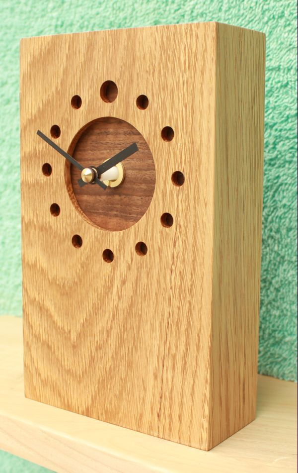 Tall Oblong Oak Mantel Clock