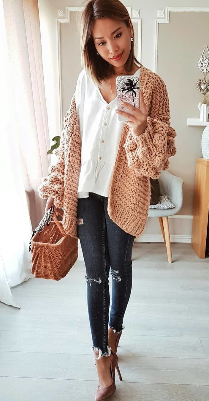 brown knit cardigan #spring #outfits