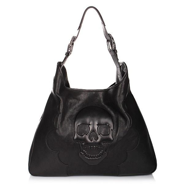 philipp plein tasche tote bag skull black leather