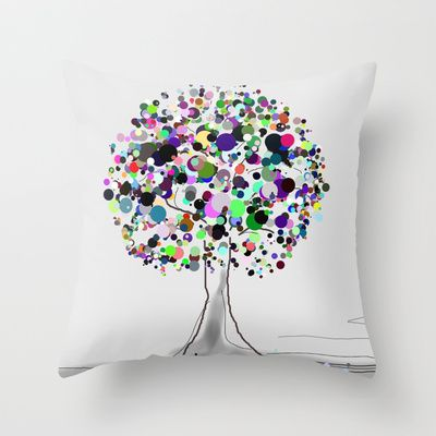 Tree Candy Throw Pillow by andréart - $20.00