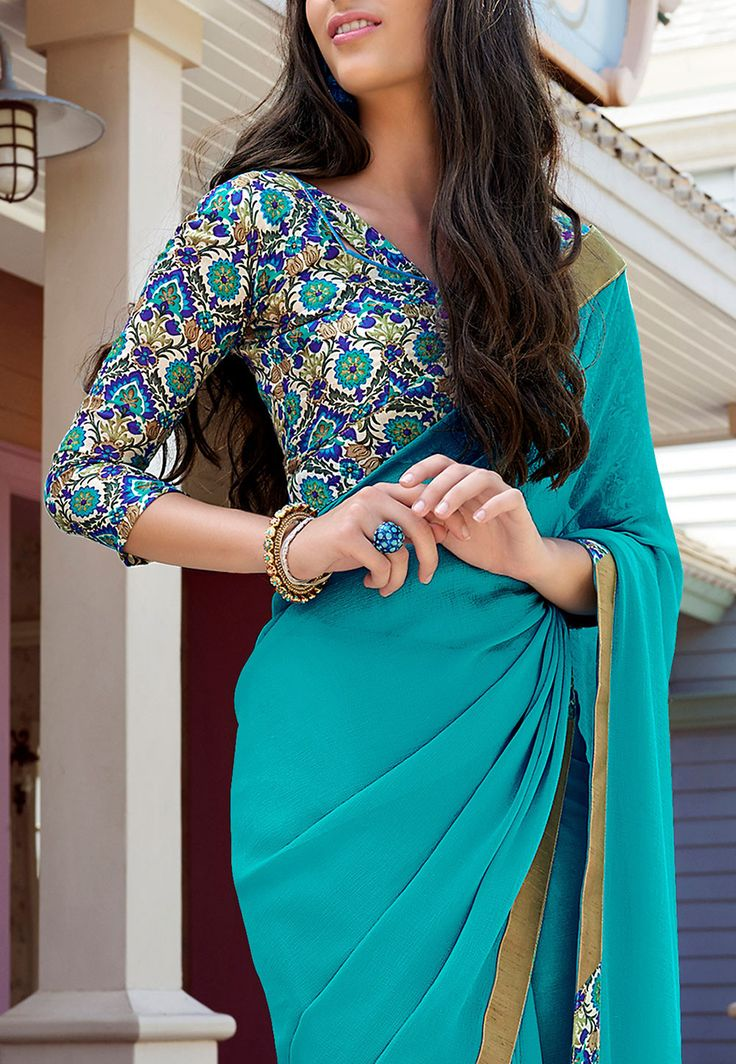 Printed Border Chiffon Saree in Light Teal Blue