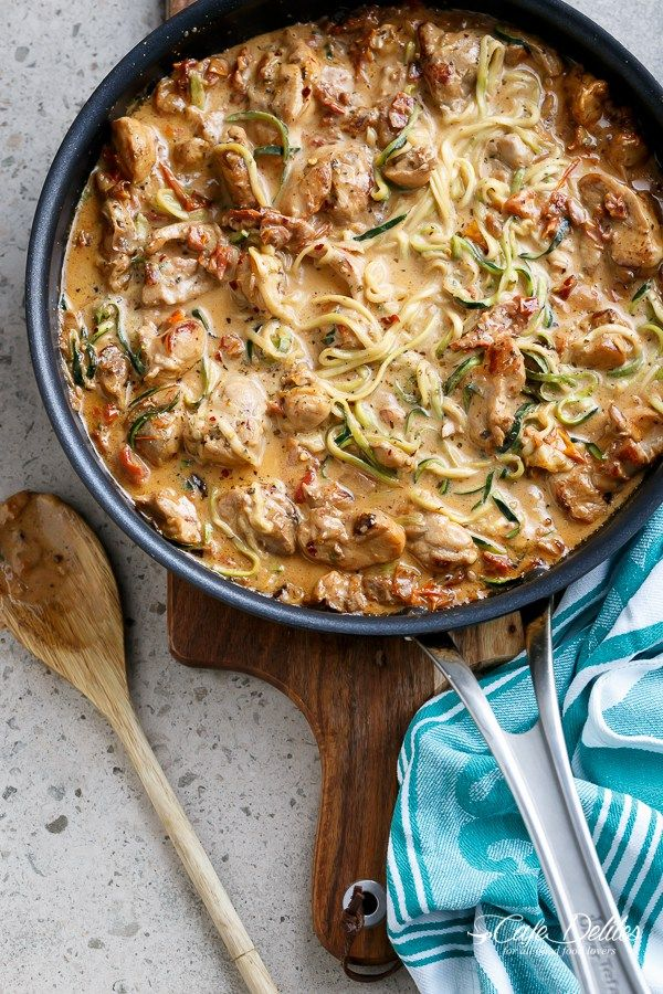 Creamy Sundried Tomato + Parmesan Chicken Zoodles   http://cafedelites.com