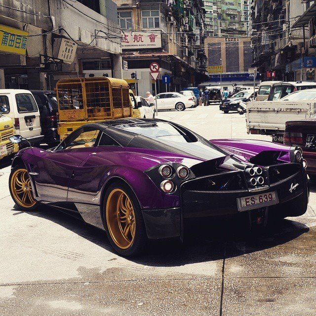 A Purple Pagani Huayra On Golden Wheels Spotted In Macau