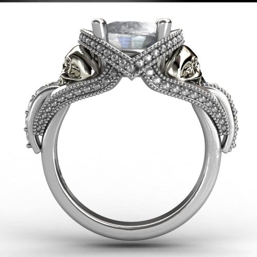 evbea real pure 100 925 sterling silver skull wedding rings sets for women - Ring Wedding