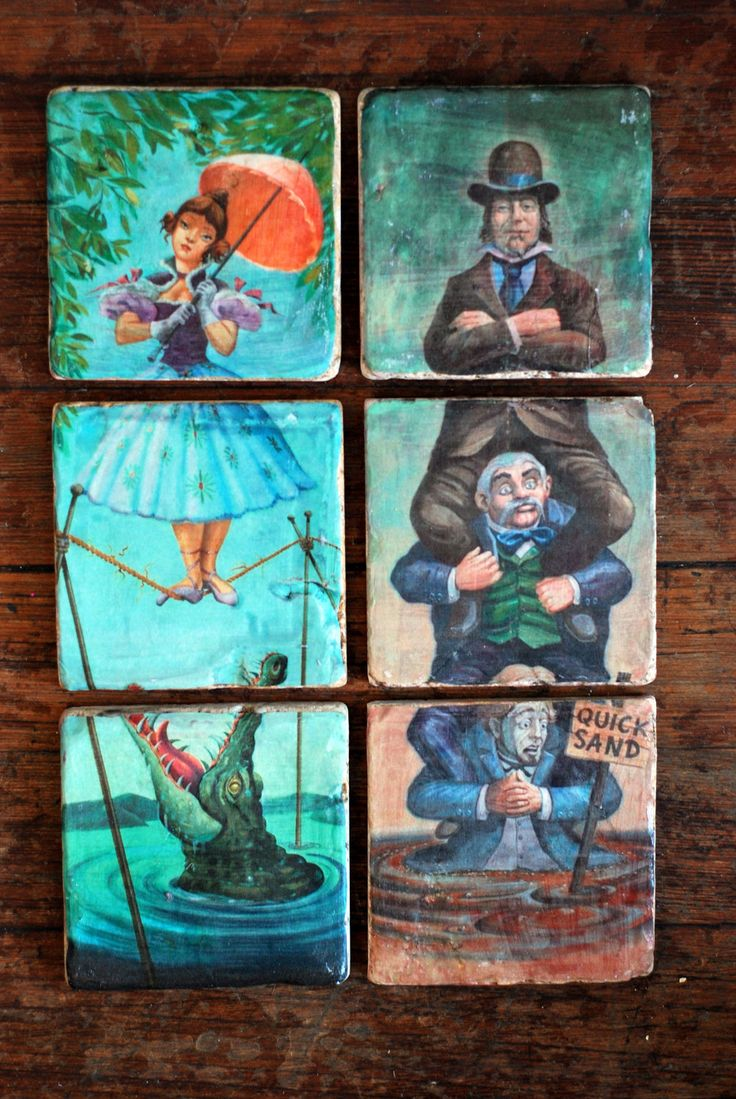 Hand-painted Haunted Mansion stretching portraits coasters on Italian marble
