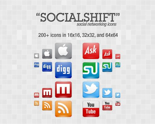 SocialShift Icon Set: 246 Free Social Networking Icons -- SocialShift, as the name implies, is a social networking related icon set. This icon set includes 82 icons in PNG format of different social networking sites in 3 different sizes: 16×16, 32×32 and 64×64, that means a total of 246 icons covering various social networks like Digg, Delicious, Facebook, Google Buzz, Linked In, Mixx, MySpace, Reddit, StumbleUpon, Technorati and Twitter.