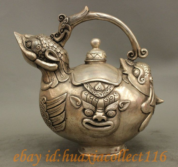 "8"" Chinese Silver Dragon Beast Lion Statue Bird Shape Wine Pot Flagon Teapot | eBay ...Looks like Shrek on the side!  LOL"