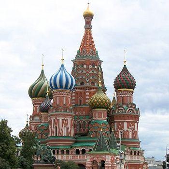 A Moscou, la place Rouge. La Cathédrale St. Basile.