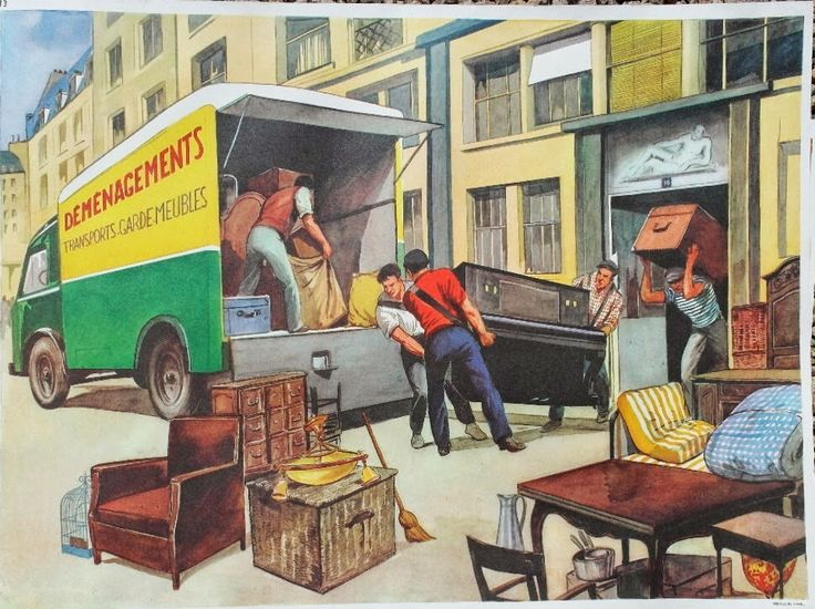 """Affiche """"Les déménageurs"""" (élocution Mdi)"""