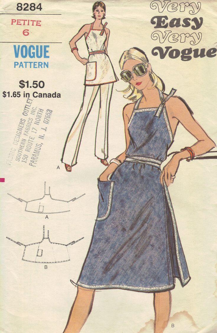 Vogue 70s Sewing Pattern Vintage Apron Dress Tie Neck Back