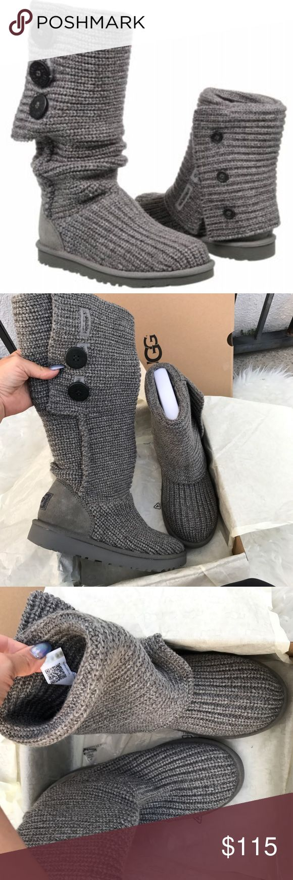 UGG AUTHENTIC CARDY GREY BOOTS SZ 8 new UGG AUTHENTIC CARDY GREY BOOTS SZ 8 new 100% authentic. QR READER SCANNABLE TAG ! New in box ! Manufactured this year , improved style and newest Ugg packaging . Itemcloset#cinsie UGG Shoes