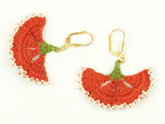 Orange & Ivory Lace Earrings Orange Carnation by PinaraDesign
