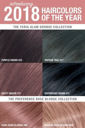 Introducing... the 2018 Hair Colors of the Year, brought to you by L'Oréal Paris. Get the ultimate Glam Grunge look with Purple Smoke, Vintage Teal, Dusty Mauve and Distressed Denim. Or, get the perfect rosy tone with Medium Rose Blonde or Dark Rose Blonde.