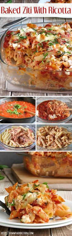 Easy Baked Ziti With Ricotta | YummyAddiction.com