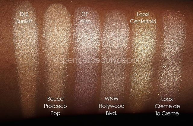 I'm just getting around to doing some comparisons of @beccacosmetics @jaclynhill Prosceco Pop highlighter for @ttiaale and I thought I'd share my results with everyone! I feel like I found 2 good replacements in @dirtylittlesecretcosmetics Baked Highlighter in 'Sunkist' (a nearly dead on dupe) and @looxi_beauty 'Centerfold' (more of a blinding, metallic finish). I left the other shades in the pic for comparison so you can see for yourselves! #beccacosmetics #jaclynhill