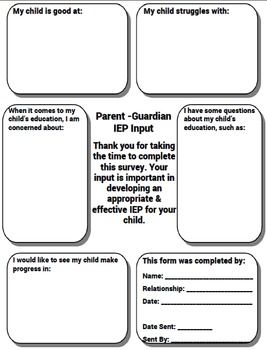 - Free - Special Education IEP Parent Input Form - Free -This Parent Input form is a graphic organizer style form that allows parents to offer input towards the development of their child's IEP. Another FREE item compliments of The Math Magazine &The Special EditorFollow Me on TpT